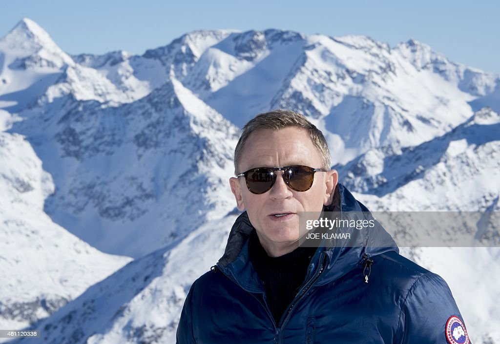 British actor <a gi-track='captionPersonalityLinkClicked' href=/galleries/search?phrase=Daniel+Craig+-+Actor&family=editorial&specificpeople=12323550 ng-click='$event.stopPropagation()'>Daniel Craig</a> poses for pictures backgrounded by Tyrolean Alps during the photo call of new James Bond 007 film 'SPECTRE' in the Austrian ski resort of Soelden on January 7, 2015.