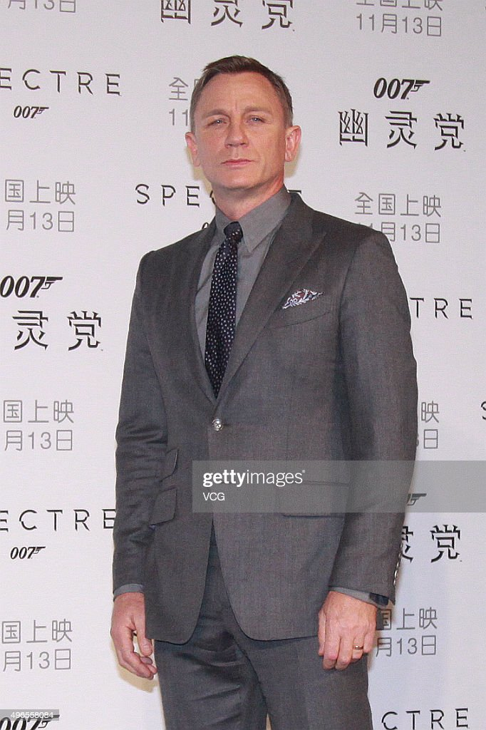 British actor <a gi-track='captionPersonalityLinkClicked' href=/galleries/search?phrase=Daniel+Craig+-+Actor&family=editorial&specificpeople=12323550 ng-click='$event.stopPropagation()'>Daniel Craig</a> promotes new film 'Spectre' directed by British actor and director Sam Mendes on November 10, 2015 in Beijing, China.