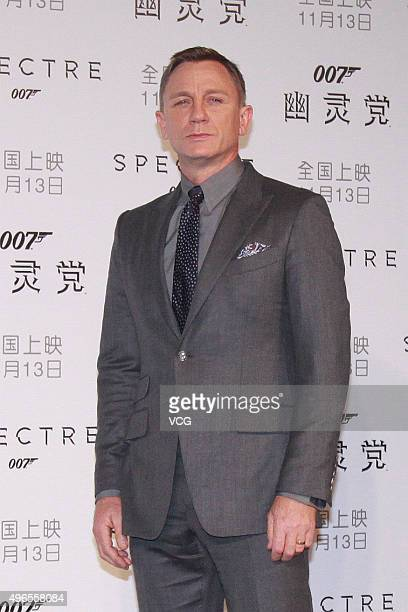 British actor Daniel Craig promotes new film 'Spectre' directed by British actor and director Sam Mendes on November 10 2015 in Beijing China