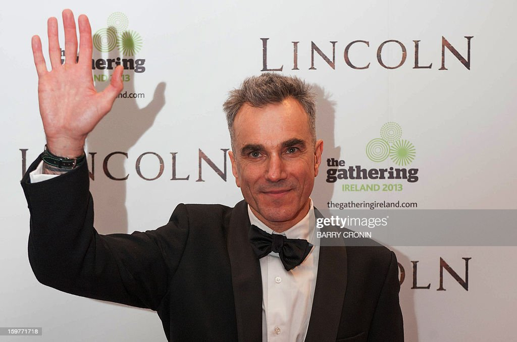 British actor Daniel Day-Lewis poses on the red carpet during arrival for the European premiere of the film 'Lincoln' in Dublin on January 20, 2013.