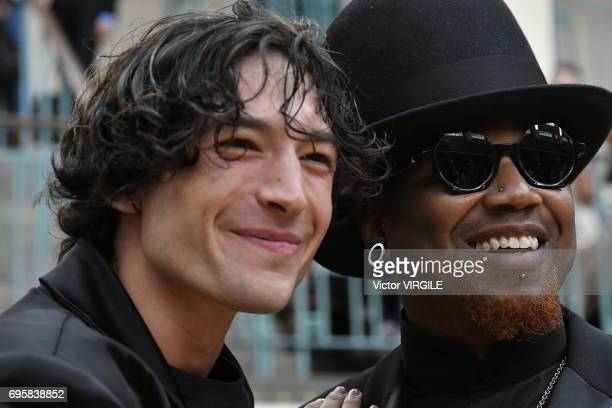 British Actor Ezra Miller and Rubee Mahboob attend the Vivenne Westwood fashion show during the London Fashion Week Men's June 2017 Spring Summer...