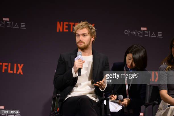 British actor Finn Jones attends a press conference of American web television series 'Marvel's Iron Fist' on March 29 2017 in Seoul South Korea