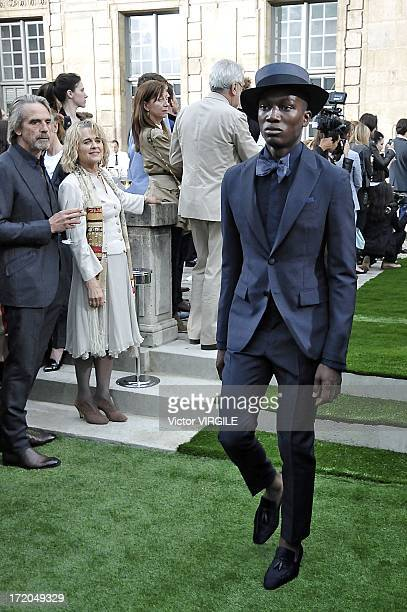 British actor Jeremy Irons and his wife Sinead Cusack attending the Berluti Menswear Spring/Summer 2014 show as part of the Paris Fashion Week held...