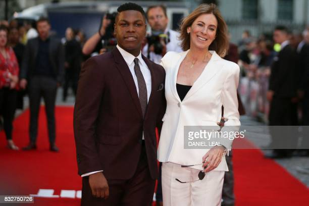 British actor John Boyega and US director Kathryn Bigelow pose for a photograph upon arrival at the European premiere of 'Detroit' in London on...