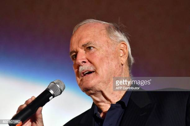 British actor John Cleese delivers a speech as he receives the 'Honorary Heart Of Sarajevo' award for his 'extraordinary contribution' to film during...