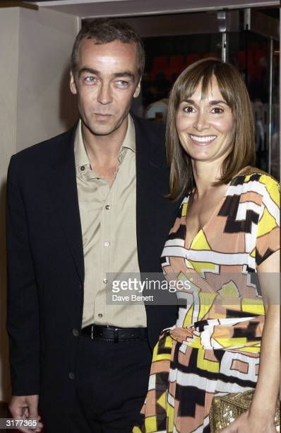 British actor John Hannah and wife arrive at the UK premiere of the film 'Calendar Girls' held at the Odeon Cinema Leicester Square on September 2...