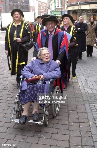 British actor John Hurt with Truda Wetherill in a procession to a Thanksgiving Service at Derby Cathedral after receiving an honorary degree from...