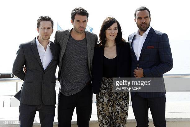 British actor Lee Ingleby Welsh actor Tom Cullen British actress Sarah Solemani and British actor O T Fagbenle pose for the photocall of the TV...
