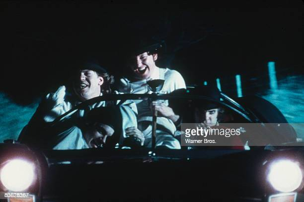 British actor Malcolm McDowell goes joyriding with his droogs in a scene from 'A Clockwork Orange' 1971