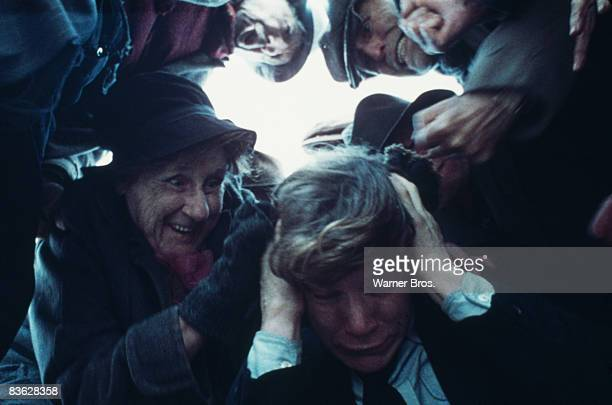 British actor Malcolm McDowell is assaulted by the elderly in a scene from 'A Clockwork Orange' 1971