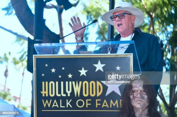 British actor Malcolm McDowell speaks at the posthumous Star ceremony for the late George Romero on the Hollywood Walk of Fame on October 25 2017 in...