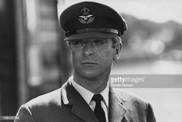British actor Michael Caine as Squadron Leader Canfield during filming of 'Battle of Britain' directed by Guy Hamilton at RAF Hawkinge Kent 4th July...