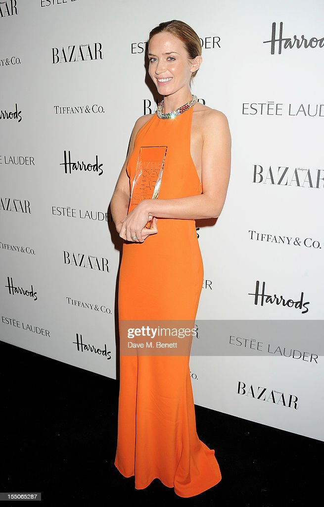 British Actor of the Year Emily Blunt poses at the Harper's Bazaar Women of the Year Awards 2012, in association with Estee Lauder, Harrods and Tiffany & Co., at Claridge's Hotel on October 31, 2012 in London, England.