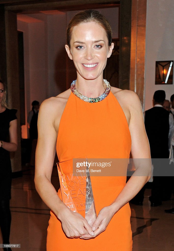 British Actor of the Year <a gi-track='captionPersonalityLinkClicked' href=/galleries/search?phrase=Emily+Blunt&family=editorial&specificpeople=213480 ng-click='$event.stopPropagation()'>Emily Blunt</a> poses at the Harper's Bazaar Women of the Year Awards 2012, in association with Estee Lauder, Harrods and Tiffany & Co., at Claridge's Hotel on October 31, 2012 in London, England.
