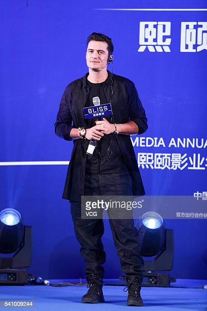 British actor Orlando Bloom attends a press conference to promote his new film 'SMART Chase' during the 19th Shanghai International Film Festival on...