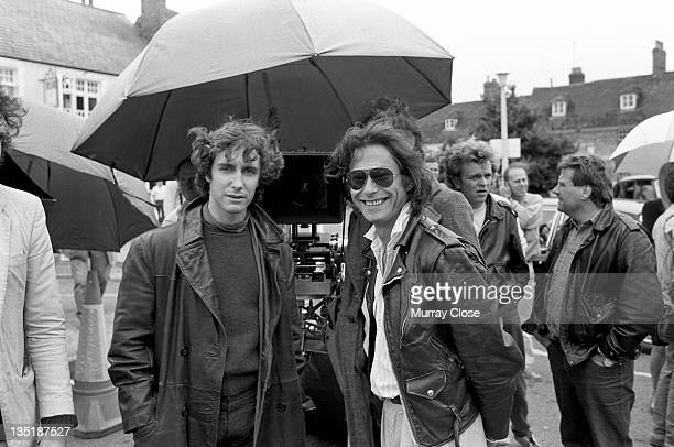 British actor Paul McGann with screenwriter and director Bruce Robinson in Stony Stratford Buckinghamshire for the movie 'Withnail I' 1986