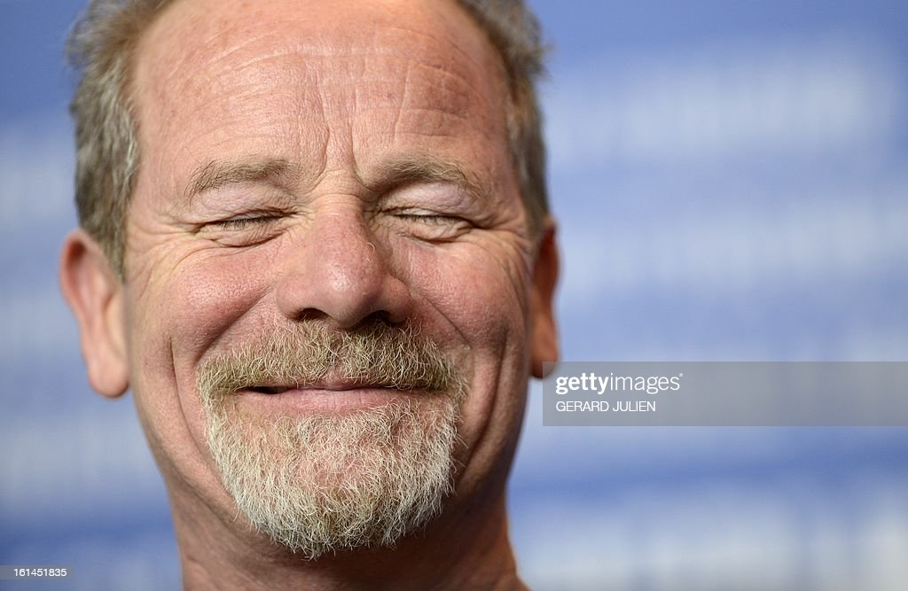 British actor Peter Mullan reacts during a press conference for the film 'Top of the lake' presented in the Berlinale Special of the 63rd Berlin International Film Festival in Berlin on February 11, 2013.