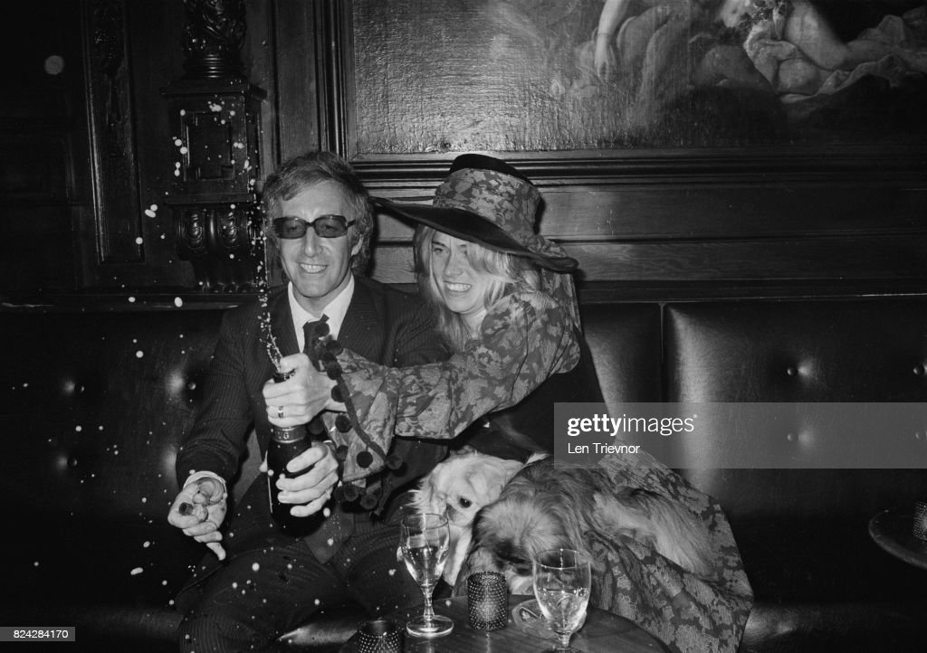 British actor Peter Sellers (1925 - 1980) with his bride Miranda Quarry celebrating at their wedding reception, London, 25th August 1970.