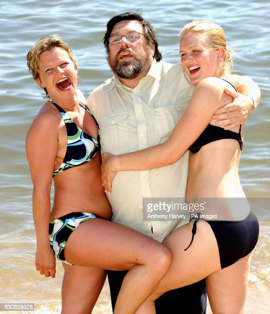 British actor Ricky Tomlinson with Jo and Louise during a photocall on the Grand Hotel beach to promote his new film 'Once upon a time in the...