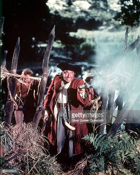 British actor Robert Newton stars as Long John Silver in the film 'Treasure Island' 1950
