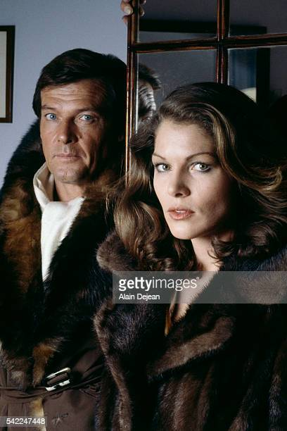 British actor Roger Moore and French actress Corinne Clery on the set of Moonraker directed by Lewis Gilbert