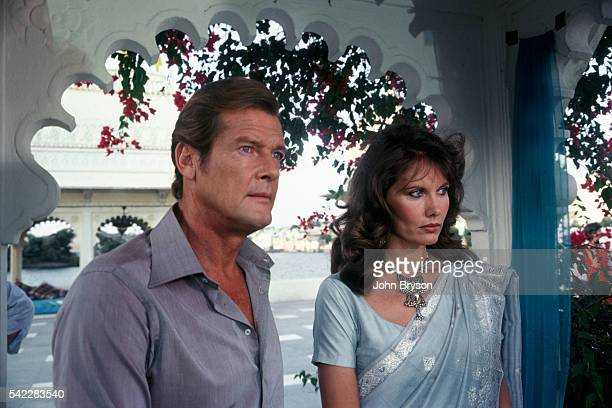 British actor Roger Moore and Swedish actress Maud Adams in the James Bond opus Octopussy directed by John Glen