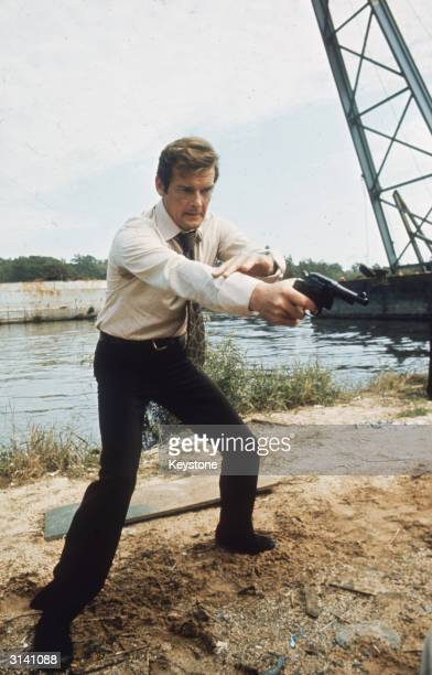 British actor Roger Moore filming the new James Bond adventure 'Live and Let Die'