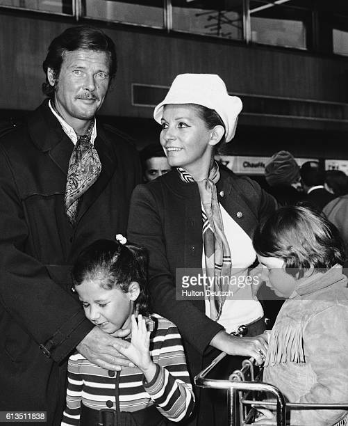 British actor Roger Moore with his wife Luisa and their children Deborah and Geoffrey