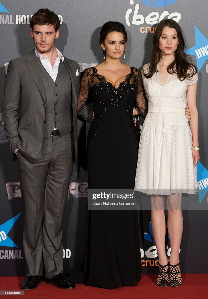 British actor Samuel Claflin, Spanish actress Penelope Cruz and French actress Astrid Berges-Frisbey attend 'Pirates Of The Caribbean: On Stranger Tides'