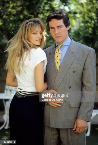 British actor Simon Dutton poses with Arielle Dombasle 1989 circa