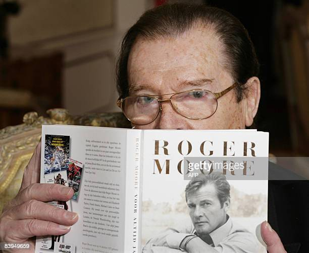 British actor Sir Roger Moore is pictured on December 8 2008 in Amsterdam during the prentation of his biography 'Forever James Bond' Moore starred...