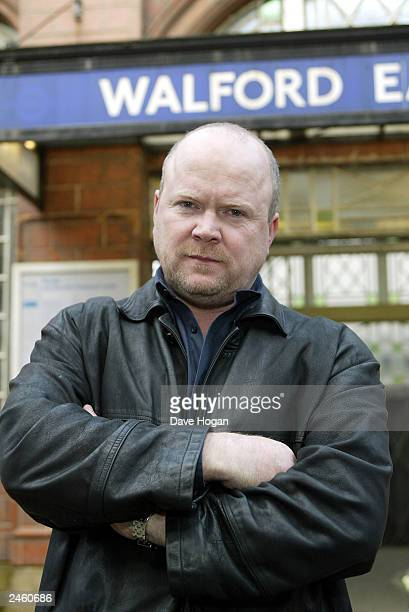 British actor Steve McFadden who plays 'Phil Mitchell' in the program 'EastEnders' poses for a phototshoot on set on February 14 2003 in London