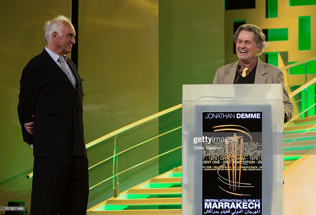 British actor <a gi-track='captionPersonalityLinkClicked' href=/galleries/search?phrase=Terence+Stamp&family=editorial&specificpeople=217602 ng-click='$event.stopPropagation()'>Terence Stamp</a> (L) gives an award to the Film director <a gi-track='captionPersonalityLinkClicked' href=/galleries/search?phrase=Jonathan+Demme&family=editorial&specificpeople=206357 ng-click='$event.stopPropagation()'>Jonathan Demme</a> (R) at the tribute to <a gi-track='captionPersonalityLinkClicked' href=/galleries/search?phrase=Jonathan+Demme&family=editorial&specificpeople=206357 ng-click='$event.stopPropagation()'>Jonathan Demme</a> at 12th International Marrakech Film Festival on December 6, 2012 in Marrakech, Morocco.