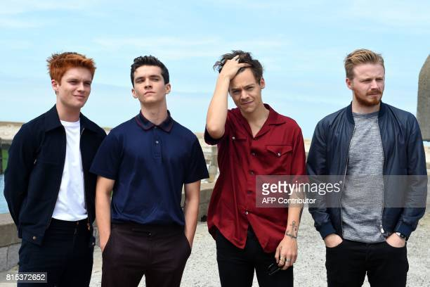 British actor Tom GlynnCarney British actor Fionn Whitehead British singer songwriter and actor Harry Styles and British actor Jack Lowden pose on...