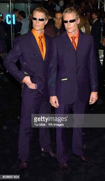 British actor twins Neil and Adrian Rayment arriving for the UK premiere of The Matrix Reloaded at the Odeon cinema in London's Leicester Square