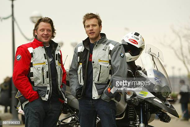 British actors Ewan McGregor and Charley Boorman launch their 20000 mile transcontinental motorbike adventure in London April 13 2004 McGregor and...