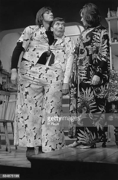 British actors John Harding Kenneth Williams and Jennie Linden in a production of Charles Laurence's stage comedy 'My Fat Friend' directed by Eric...