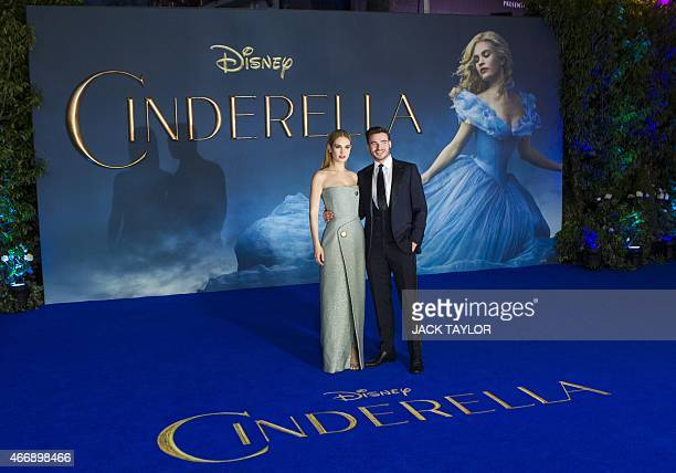 British actors Lily James and Richard Madden pose for photographers on the red carpet ahead of the UK premiere of the film 'Cinderella' in central...