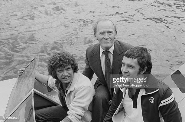 British actors Martin Shaw Gordon Jackson and Lewis Collins on right who play the characters of Raymond Doyle George Cowley and William Bodie in the...