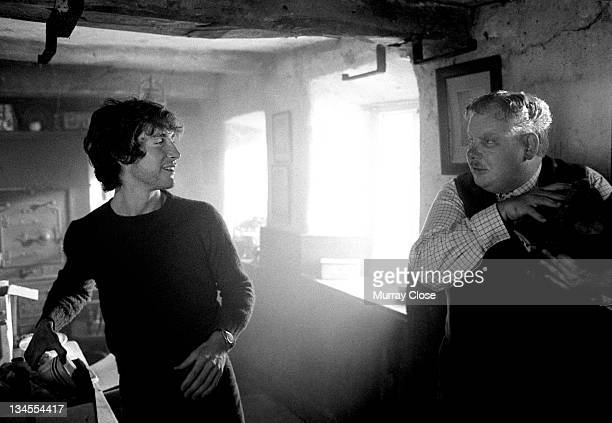 British actors Paul McGann and Richard Griffiths film a scene in Cumbria for the movie 'Withnail I' 1986