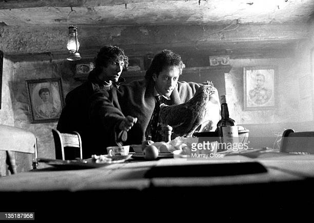 British actors Richard E Grant and Paul McGann film a scene for the movie 'Withnail I' 1986