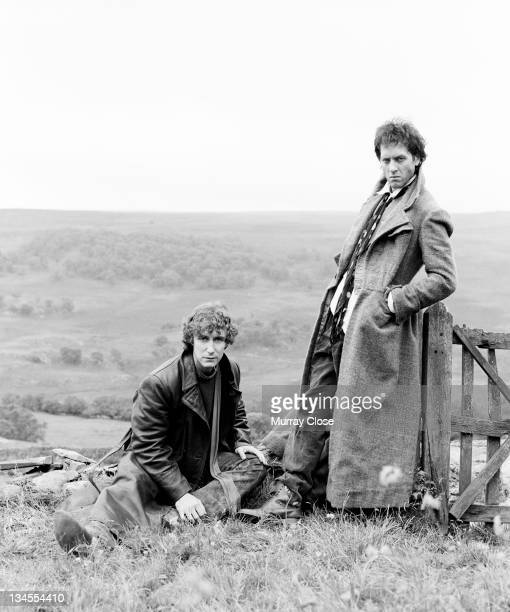 British actors Richard E Grant and Paul McGann posing for the cover art of the movie 'Withnail I' in Cumbria 1986