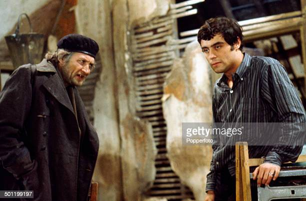 British actors Roy Dotrice and Ian McShane pictured together in a scene from the television adaptation of Harold Pinter's play 'The Caretaker' in 1967