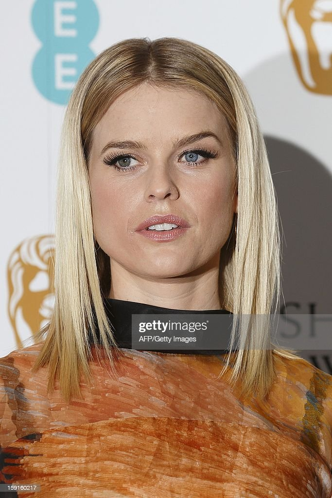 British actress Alice Eve poses for pictures at a photocall to mark the 2013 BAFTA nominations in central London, on January 9, 2013. Steven Spielberg's political drama 'Lincoln', the film version of hit stage musical 'Les Miserables' and Ang Lee's 'Life of Pi' lead the nominations for the BAFTAs announced in London. All three are in the running for best film in the British awards, viewed as one of the indicators of Oscars glory, alongside Kathryn Bigelow's Osama bin Laden manhunt movie 'Zero Dark Thirty' and Iran hostage drama 'Argo'.