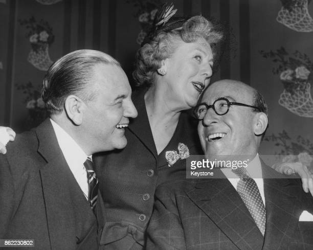 British actress and comedian Cicely Courtneidge at a party at the Savoy Hotel in London to celebrate her 50 years on the stage 17th April 1957 With...