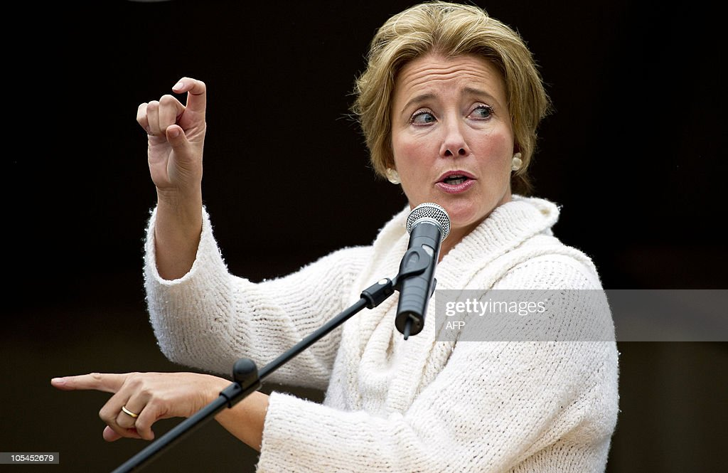 British actress and human rights activist Emma Thompson delivers a speech on October 14, 2010 in The Hague, The Netherlands, during the opening of the international exhibition 'Journey'. 'Journey' is an art installation which uses seven transport containers to illustrate the brutal and harrowing experiences of women sold into the sex trade. AFP PHOTO / ANP / VALERIE KUYPERS - The Netherlands out - Belgium out --