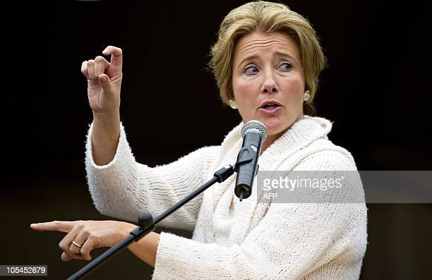 British actress and human rights activist Emma Thompson delivers a speech on October 14 2010 in The Hague The Netherlands during the opening of the...