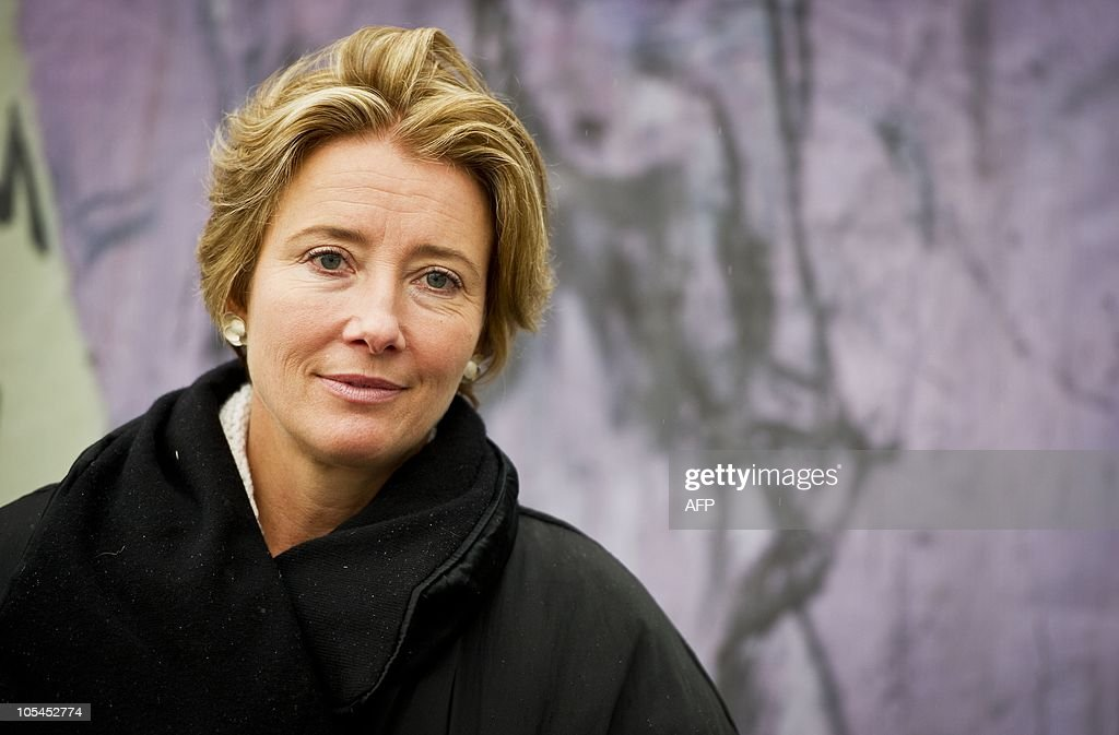 British actress and human rights activist Emma Thompson poses on October 14, 2010 in The Hague, The Netherlands, during the opening of the international exhibition 'Journey'. 'Journey' is an art installation which uses seven transport containers to illustrate the brutal and harrowing experiences of women sold into the sex trade. Thompson is also the driving force behind this unique art installation. AFP PHOTO / ANP / VALERIE KUYPERS - The Netherlands out - Belgium out --