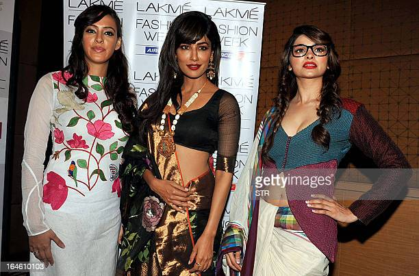 British actress and model Hazel Keech and Indian film actresses Chitrangada Singh and Prachi Desai pose during the fourth day of the Lakme Fashion...