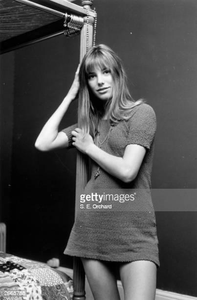 British actress and model Jane Birkin wearing a knitted minidress